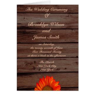 Rustikale Hochzeits-Programme mit Mitteilungskarte