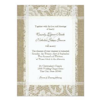 Rustikale Hochzeits-Spitze und Leinwand 14 X 19,5 Cm Einladungskarte