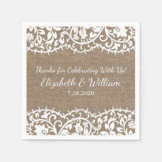 Rustikale Hochzeits-Vintage Spitze, Papierserviette