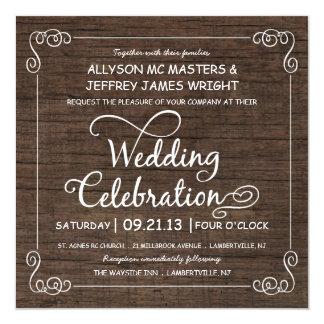 Rustikale Holz-Blick Hochzeits-Einladungen Quadratische 13,3 Cm Einladungskarte