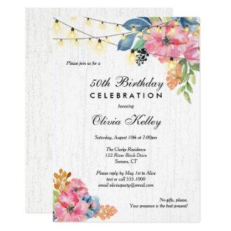 Rustikale Holz-, Blumen-u. 12,7 X 17,8 Cm Einladungskarte