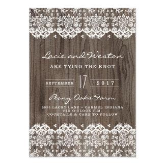 Rustikale Holz-und Spitze-Hochzeits-Einladung Karte