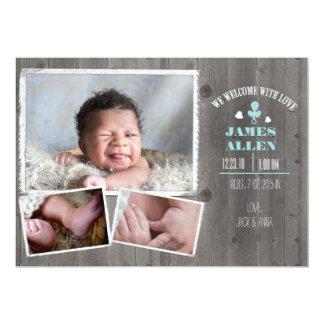 Rustikale hölzerne Baby-Geburt Annoucment Karte