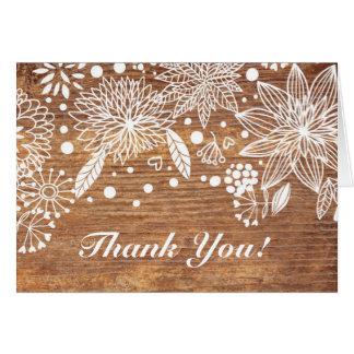 rustikale hölzerne Blumen danken Ihnen zu Karte