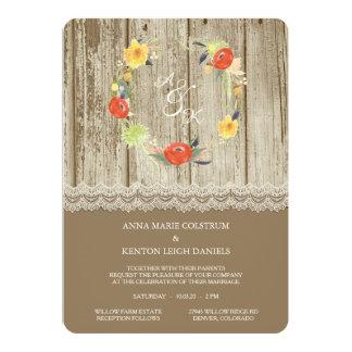 Rustikale hölzerne BlumenKranz-Hochzeits-Einladung Karte