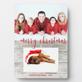 Rustikale hölzerne frohe Weihnachten - Fotoplatte