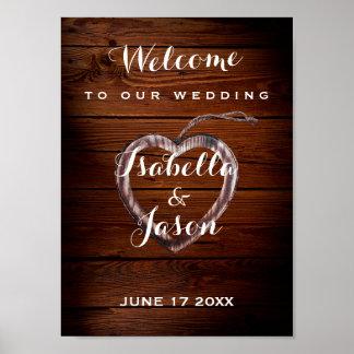 Rustikale hölzerne Herz-Hochzeit des Poster