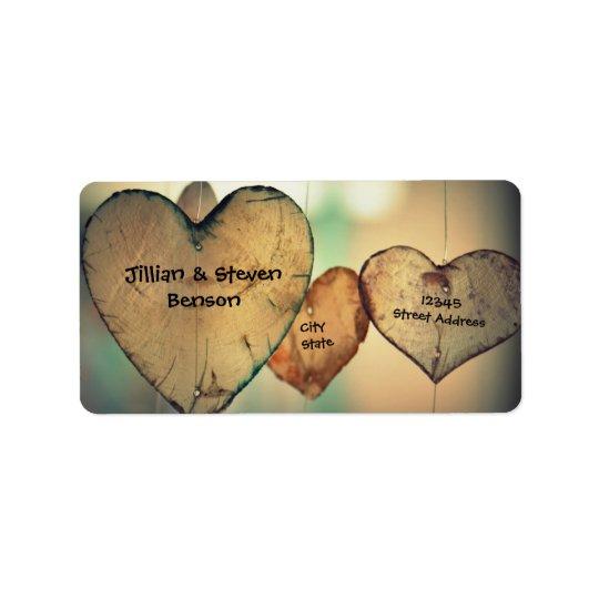 Rustikale hölzerne Herzen - Adressen-Etiketten Adressaufkleber