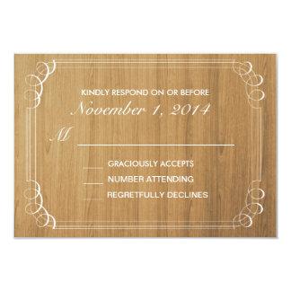 Rustikale hölzerne Hochzeits-Einladungs-Wartekarte 8,9 X 12,7 Cm Einladungskarte
