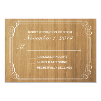 Rustikale hölzerne Hochzeits-Einladungs-Wartekarte Karte