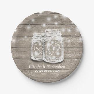 Rustikale hölzerne Maurer-Glas-Schnur beleuchtet Pappteller