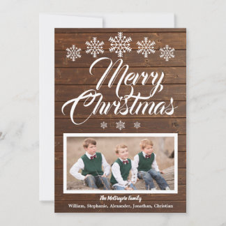 Rustic Wood Snowflakes Photo Merry Christmas Card