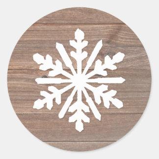 Rustikale hölzerne Schneeflocke - Kreis-Aufkleber Runder Aufkleber