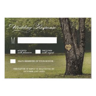 Rustikale Initialen-alte Eichen-Baum-Hochzeit UAWG 8,9 X 12,7 Cm Einladungskarte