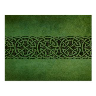 Rustikale irische keltische Knoten-Verzierung Postkarte