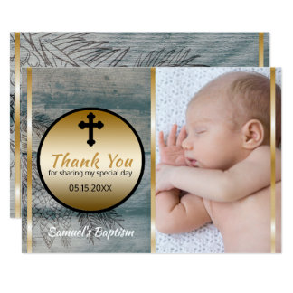 Rustikale Jungen-Taufe danken Ihnen Karte