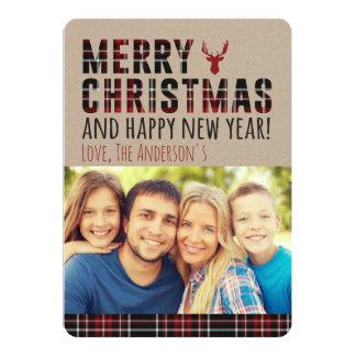 Rustikale karierte Weihnachtskarte Karte