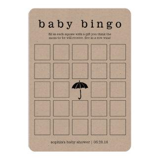 Rustikale Kraftpapier-Babyparty-doppelseitige 12,7 X 17,8 Cm Einladungskarte