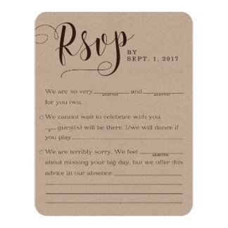 Rustikale Kraftpapier-Hochzeits-Wartekarten 10,8 X 14 Cm Einladungskarte