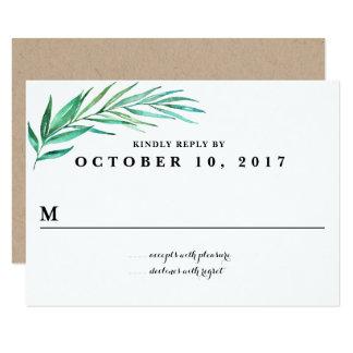 Rustikale Kranz-Grün-Hochzeits-Antwort-Karte 8,9 X 12,7 Cm Einladungskarte