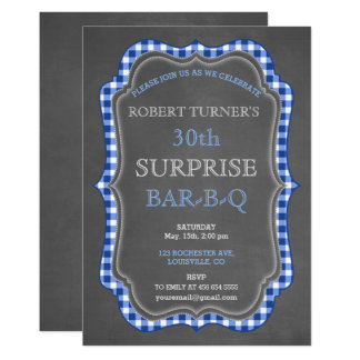 Rustikale Kreide-Gingham-Überraschungs-Geburtstag 12,7 X 17,8 Cm Einladungskarte
