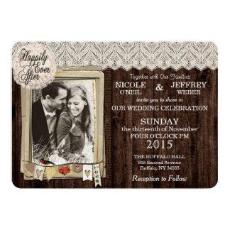 Rustikale Land-Foto-Hochzeits-Einladung Karte