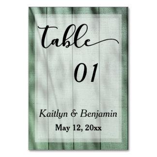 Rustikale Land-Grün-Scheunen-Wedding Tischnummer