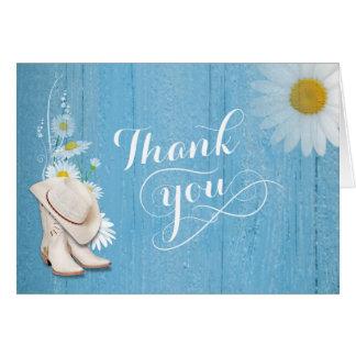 Rustikale Land-Hochzeit danken Ihnen Mitteilungskarte