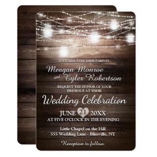 Rustikale Land-Hochzeit mit Schnur-Lichtern 12,7 X 17,8 Cm Einladungskarte