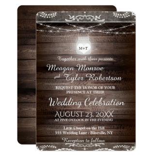 Rustikale Land-Hochzeit mit Spitze u. Weckglas Karte