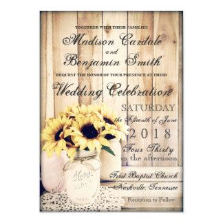 Rustikale Land-Sonnenblume-Weckglas-Hochzeit laden Karte