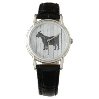 Rustikale Land-Ziegen-Holz-Platte Armbanduhr