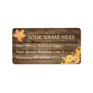 Rustikale Landholz-und Watercolor-Herbst-Blumen Adressaufkleber