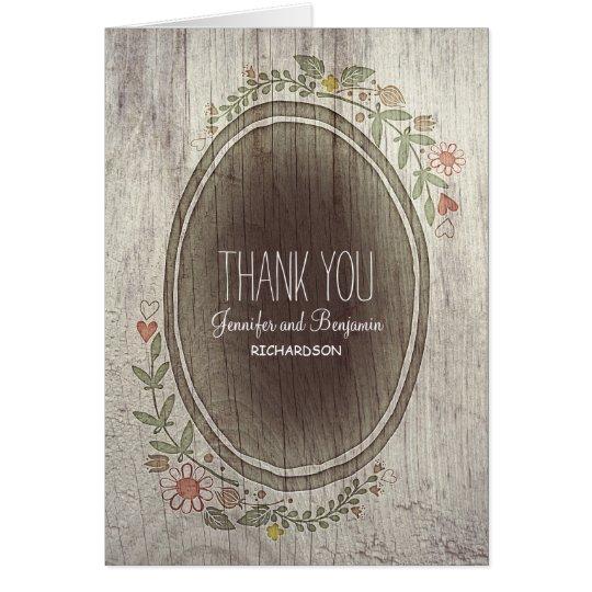 rustikale Landmit blumenhochzeit danken Ihnen Karte