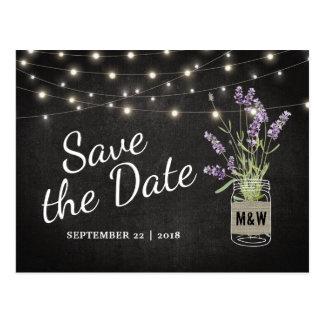 Rustikale Lavendel-Maurer-Glas-Lichter Save the Postkarte
