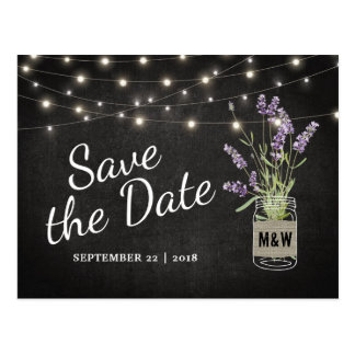 Rustikale Lavendel-Maurer-Glas-Lichter Save the Postkarten