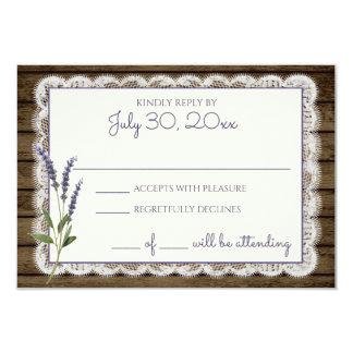 Rustikale Lavendel-und Spitze-Hochzeits-Wartekarte 8,9 X 12,7 Cm Einladungskarte