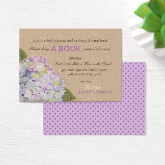 Rustikale LavendelHydrangeas lasen eine Buch-Karte Visitenkarte