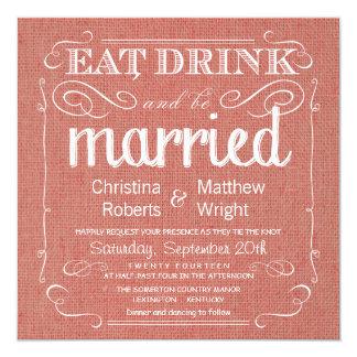 Rustikale Leinwand-Aprikosen-Hochzeits-Einladungen Quadratische 13,3 Cm Einladungskarte