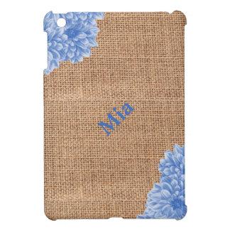 Rustikale Leinwand-Dahlie Hülle Für iPad Mini
