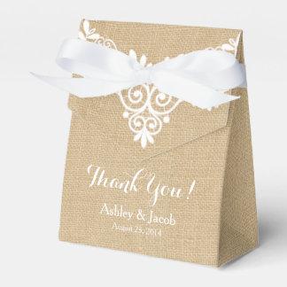 Rustikale Leinwand-danken weiße Spitze-Hochzeit Geschenkschachteln