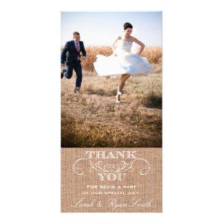Rustikale Leinwand-Druck-Hochzeit danken Ihnen Fot Bilder Karten