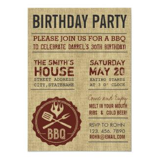 Rustikale Leinwand-Geburtstags-Party GRILLEN 11,4 X 15,9 Cm Einladungskarte