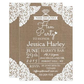 Rustikale Leinwand u. weißes Spitze-Henne-Party 12,7 X 17,8 Cm Einladungskarte