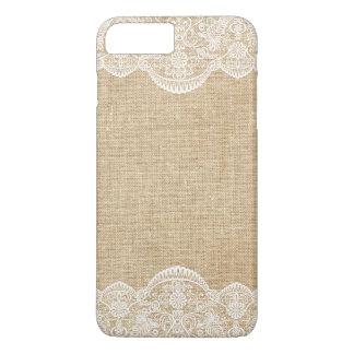 Rustikale Leinwand und Spitze-Muster-Braut iPhone 8 Plus/7 Plus Hülle