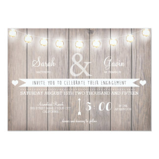 Rustikale Licht-Verlobungs-Einladung 12,7 X 17,8 Cm Einladungskarte