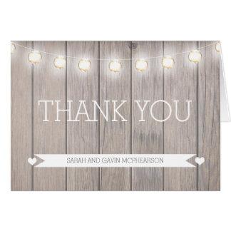 Rustikale Lichter danken Ihnen Anmerkungs-Karte Karte