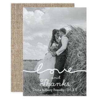 Rustikale Liebe-u. Dank-Foto-Hochzeit danken Ihnen Karte