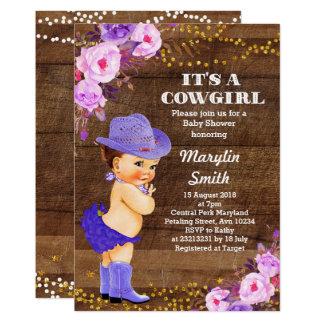 Rustikale lila Cowgirl-Baby-Duschen-Flieder Karte