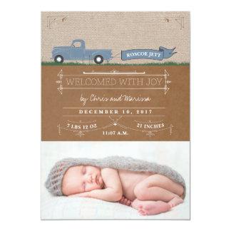 Rustikale LKW-Baby-Mitteilungs-Karten 12,7 X 17,8 Cm Einladungskarte